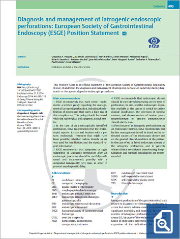Diagnosis and management of iatrogenic endoscopic perforations: European Society of Gastrointestinal Endoscopy (ESGE) Position Statement