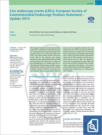 Live endoscopy events (LEEs): European Society of Gastrointestinal Endoscopy Position Statement – Update 2014