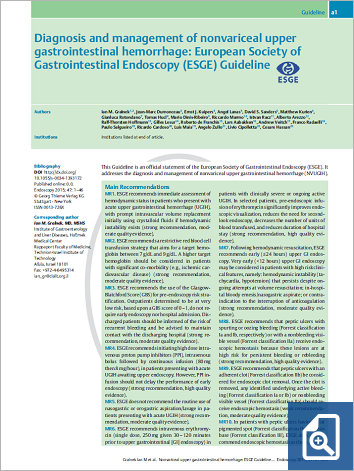 Diagnosis and management of nonvariceal upper gastrointestinal hemorrhage: European Society of Gastrointestinal Endoscopy (ESGE) Guideline