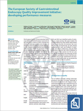 The European Society of Gastrointestinal Endoscopy Quality Improvement Initiative: developing performance measuress