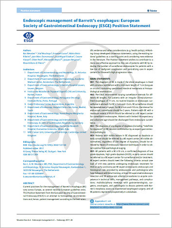 Endoscopic management of Barrett's esophagus: European Society of Gastrointestinal Endoscopy (ESGE) Position Statement