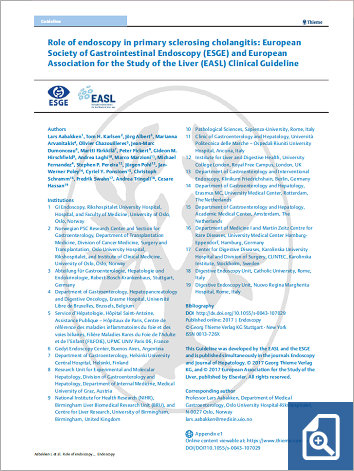 Role of endoscopy in primary sclerosing cholangitis: European Society of Gastrointestinal Endoscopy (ESGE) and European Association for the Study of the Liver (EASL) Clinical Guideline