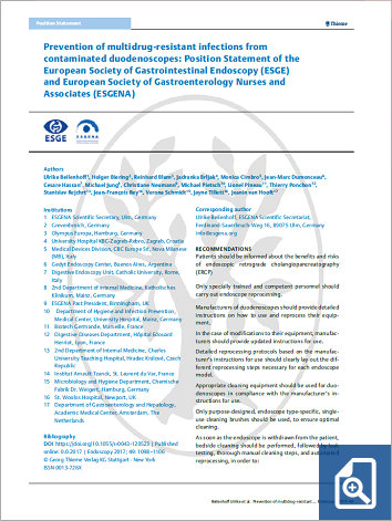 Prevention of multidrug-resistant infections from contaminated duodenoscopes: Position Statement of the European Society of Gastrointestinal Endoscopy (ESGE) and European Society of Gastroenterology Nurses and Associates (ESGENA)