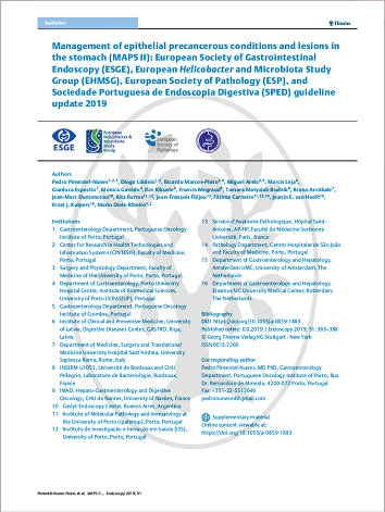 Management of epithelial precancerous conditions and lesions in the stomach (MAPS II): European Society of Gastrointestinal Endoscopy (ESGE), European Helicobacterand Microbiota Study Group (EHMSG), European Society of Pathology (ESP),