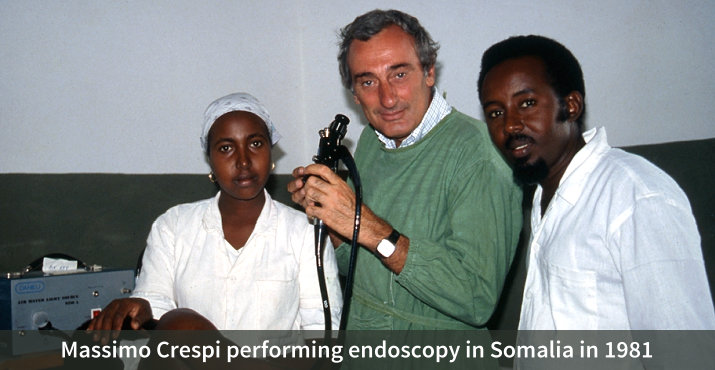 Massimo Crespi performing endoscopy in Somalia in 1981